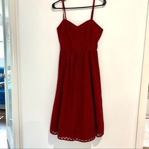 NWT Modcloth red strap dress sz S dot texture